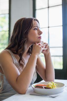 Depressed woman sitting