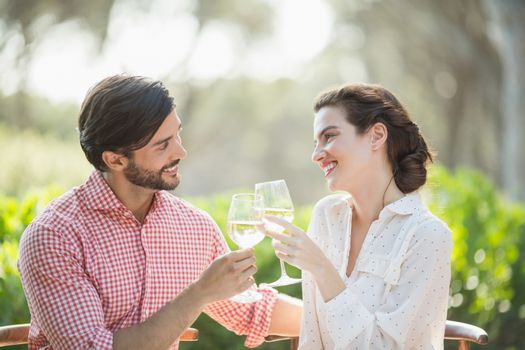 Portrait of couple toasting wine glasses while sitting in restaurant