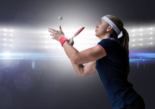 Table tennis player against bright lights