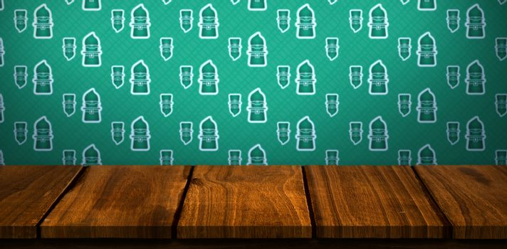 Digital composite of Patricks day wallpaper above table