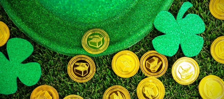 St Patricks Day leprechaun hat shamrocks and chocolate gold coins