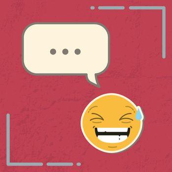 Card with laughing emoji