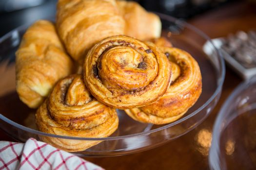 Croissants on cake stand