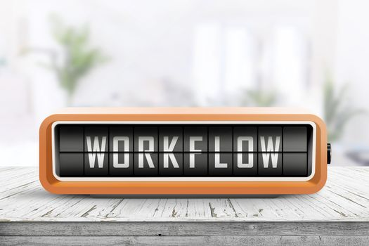 Workflow alarm message on a wooden desk in a bright office in daylight