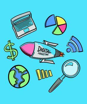 Vector icon of digital marketing