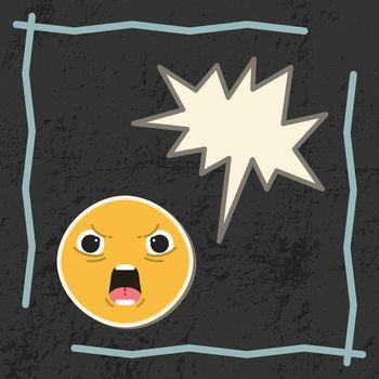 Card with angry emoji