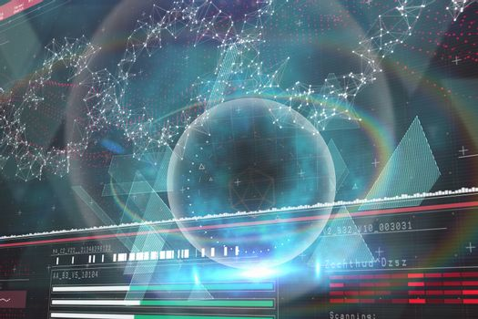 Composite image of blue and black technology design 3d