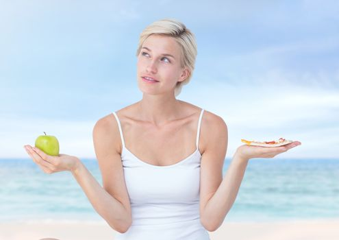 Woman choosing or deciding food with open palm hands