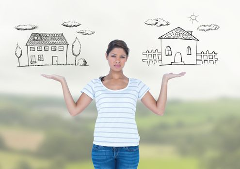 Woman choosing or deciding homes with open palm hands