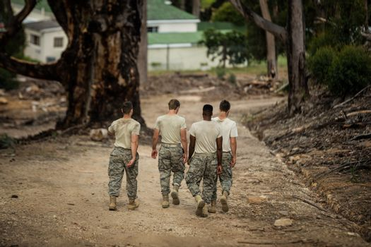 Soldiers walking in boot camp