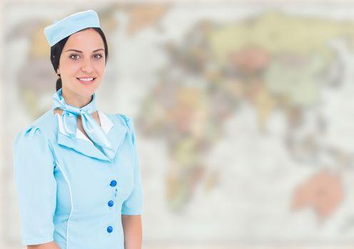 Stewardess against blurry map