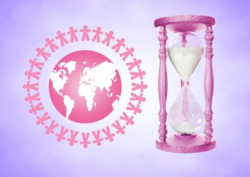 People together around the world illustration with Pink Egg Timer containing sand against purple bac
