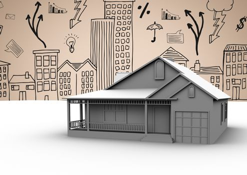 3D House against 2D city drawings on beige background