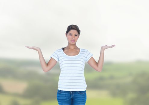Woman choosing or deciding with open palm hands