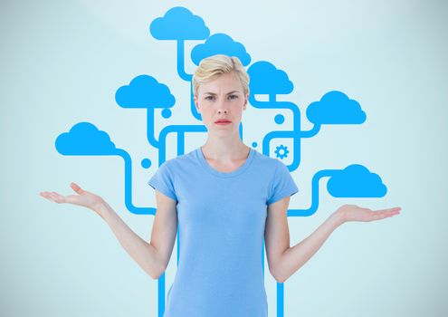 Woman choosing or deciding clouds with open palm hands