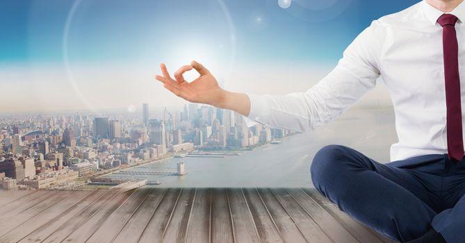 Man Meditating peaceful over