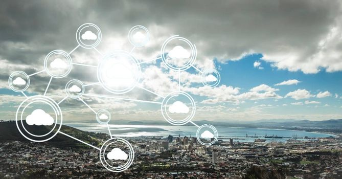 White network against coastline