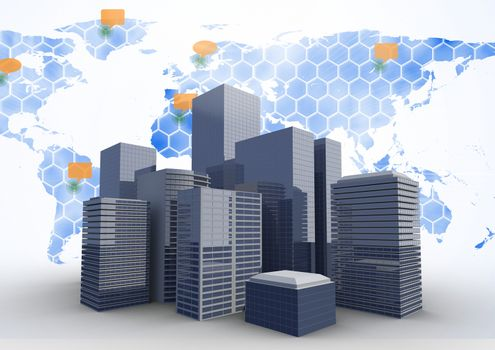 City with world map