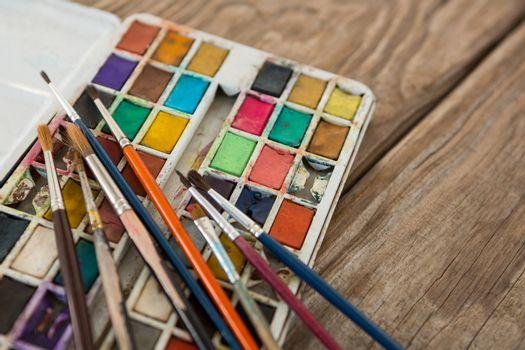 Various paintbrush and palette