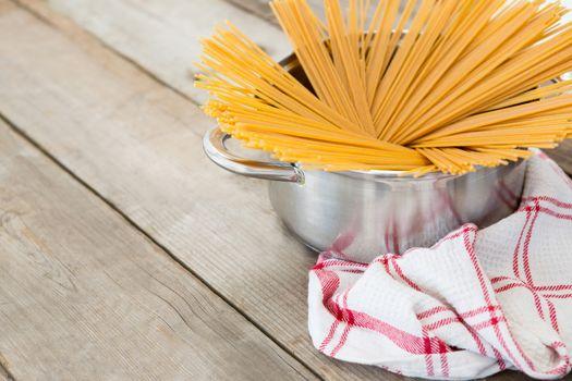 Spaghetti pasta arranged in utensil