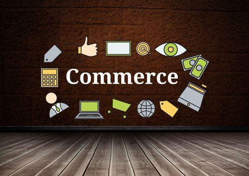 Commerce text with drawings graphics