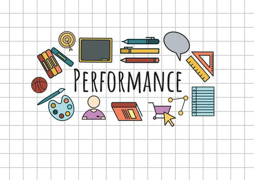 Performance text with drawings graphics