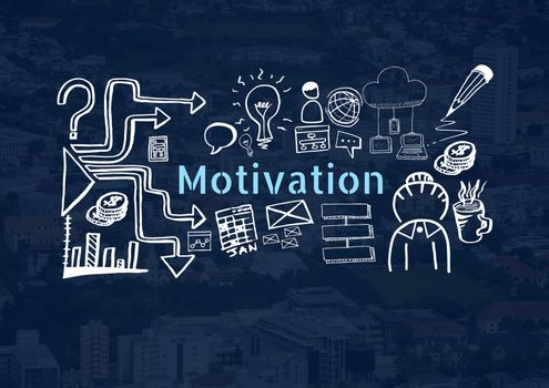 Motivation text with drawings graphics