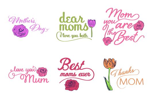 Vector set of mothers day wishes against white background