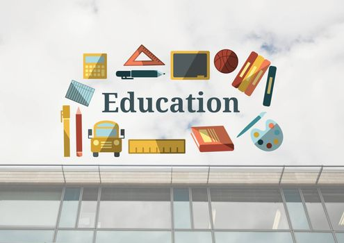 Digital composite of Education text with drawings graphics