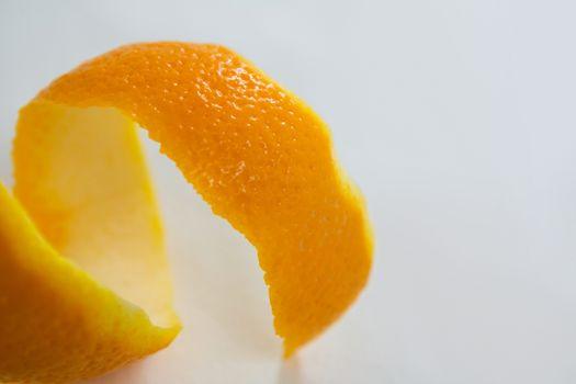 Close-up of spiral orange peel