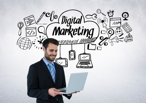 Businessman with digital marketing drawings graphics