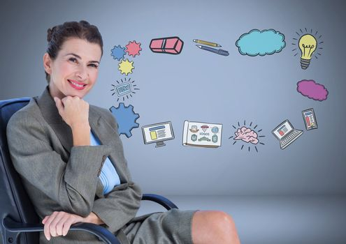 Businesswoman with creative design business graphic drawings