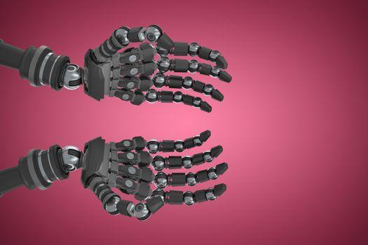 Robotic hands against pink background