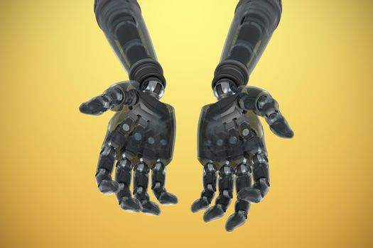 Robotic hands against yellow background