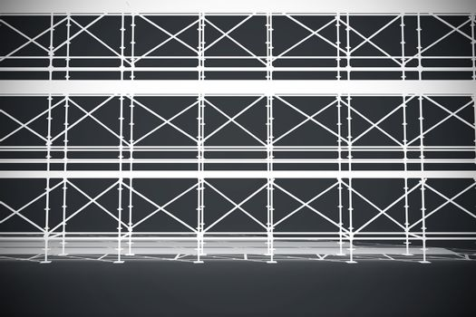 Composite image of 3d illustration of metal grate with planks