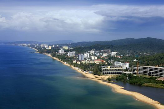 Aerial view of the resort coast of Vietnam, Phu Quoc