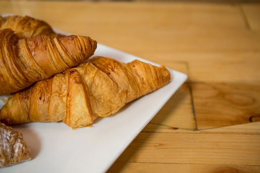 Croissant served in plate at coffee house