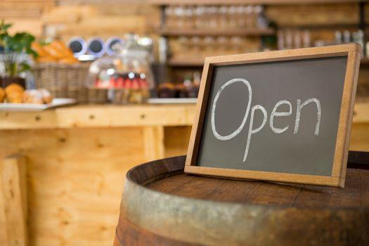 Open signboard in coffee shop