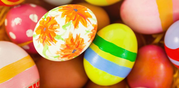 Close-up of colorful painted easter eggs