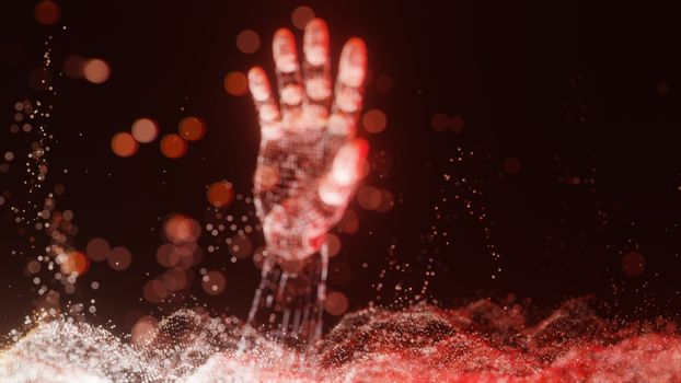 An abstract field of luminous dots and a luminous robot arm. The concept of new technologies. 3D rendering