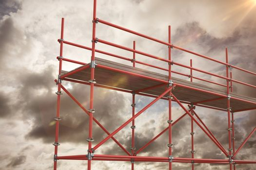 Composite image of digitally generated image of scaffolding