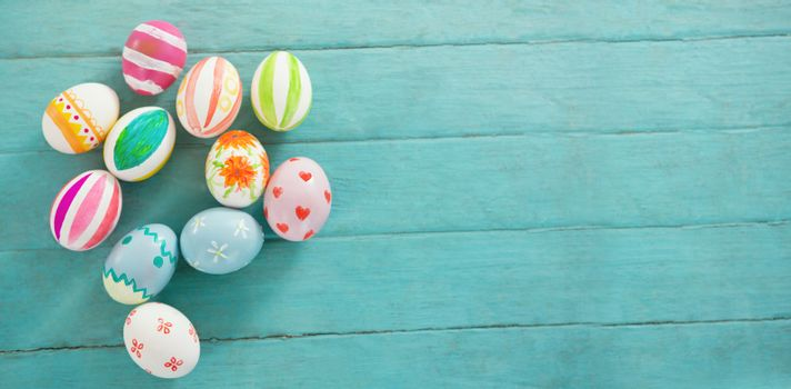 Close-up of painted Easter eggs on table