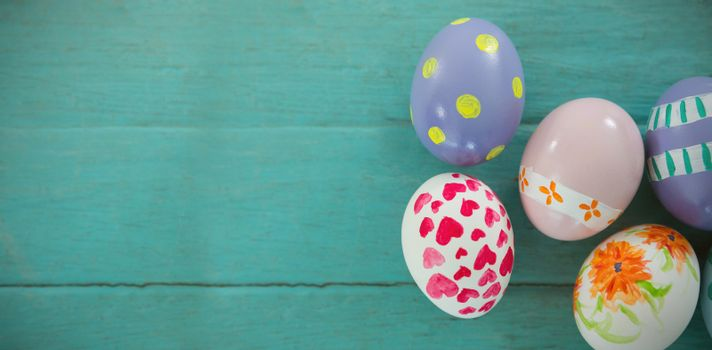 Close-up of painted Easter eggs on wooden surface
