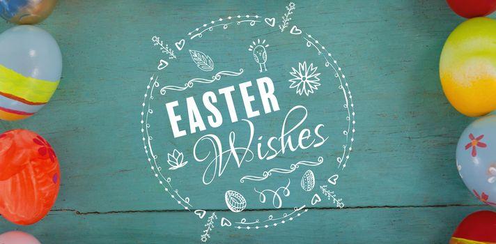 easter wishes logo against various easter eggs forming frame shape