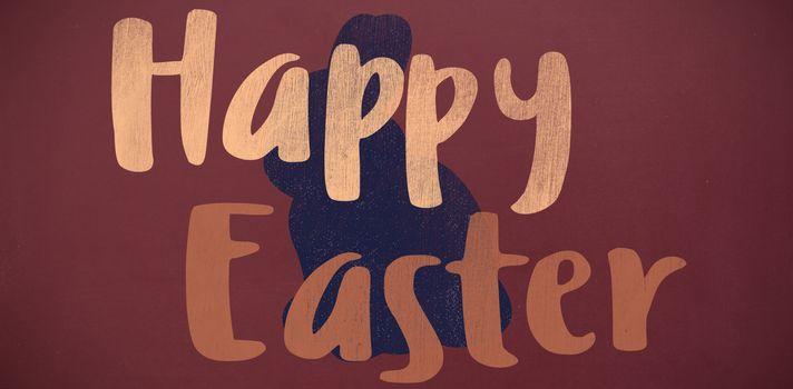 Happy easter logo against rabbit background