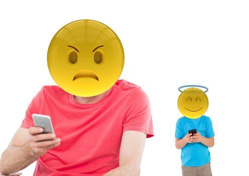 Angry emoji and angel emoji