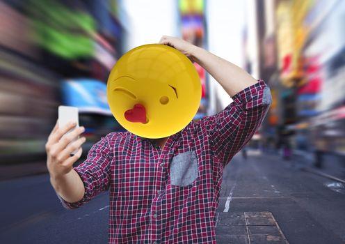 Men selfie. Emoji heads.