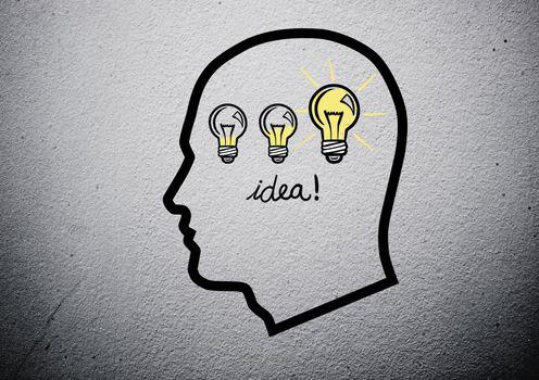 outline head having an idea