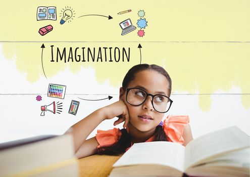 Young girl iwth books thinking and Imagination text with drawings graphics