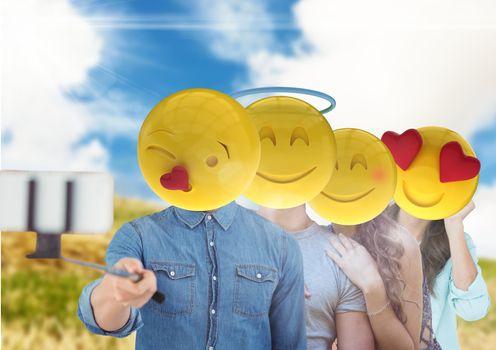 friends emoji face selfi